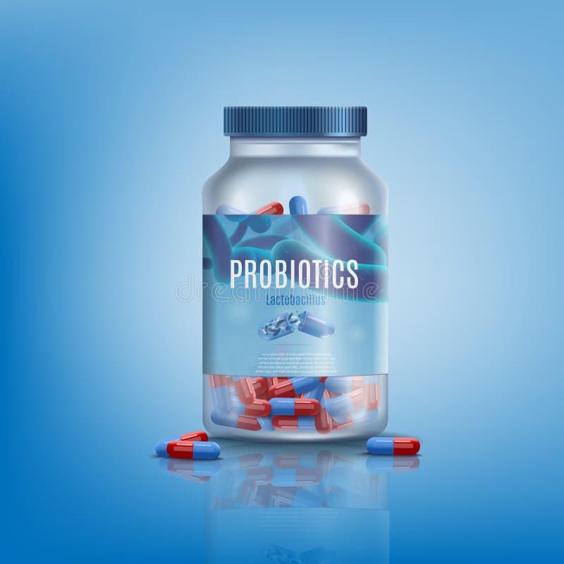 Pillole di probiotici nel vettore realistico del barattolo di vetro royalty illustrazione gratis