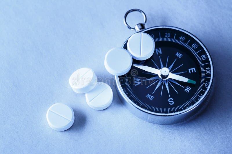 Pillole e bussola bianche di aspirin fotografie stock libere da diritti