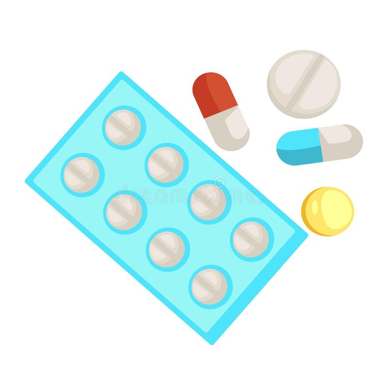 Pillole e capsula della medicina e ridurre in pani gli oggetti medici isolati illustrazione vettoriale