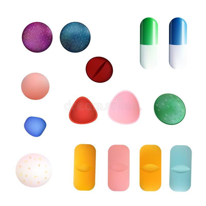 Pillole e capsule variopinte differenti della medicina Insieme di vettore Isolato su priorità bassa bianca illustrazione vettoriale