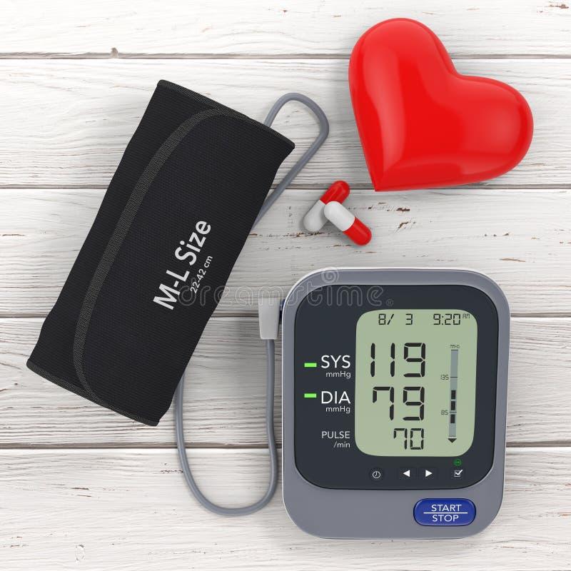 Pillole e cuore rosso vicino a pressione sanguigna moderna Measureme di Digital illustrazione vettoriale