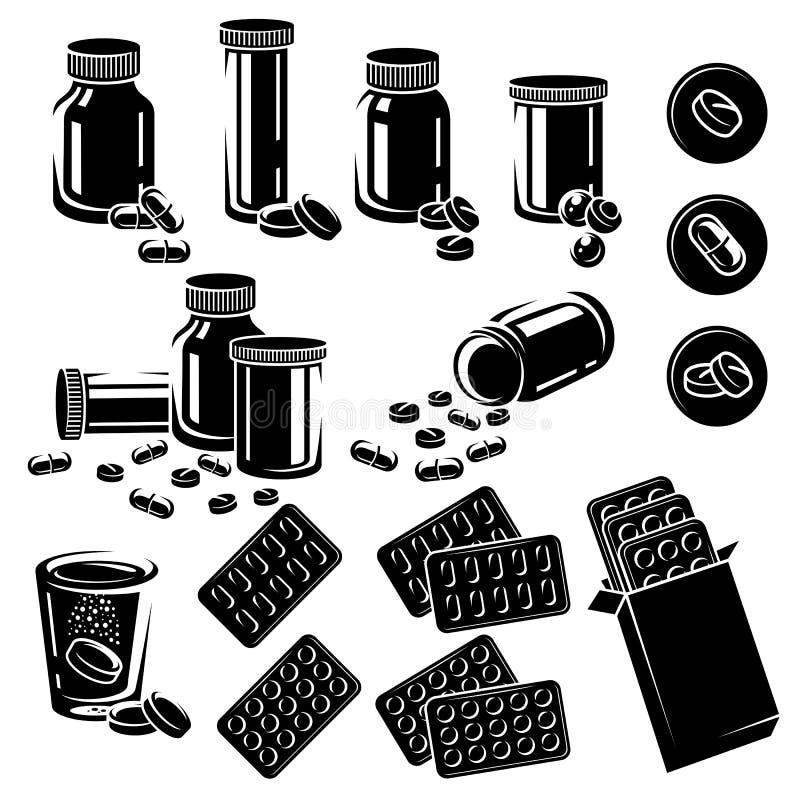 Pillole ed insieme di elementi delle capsule vettori royalty illustrazione gratis