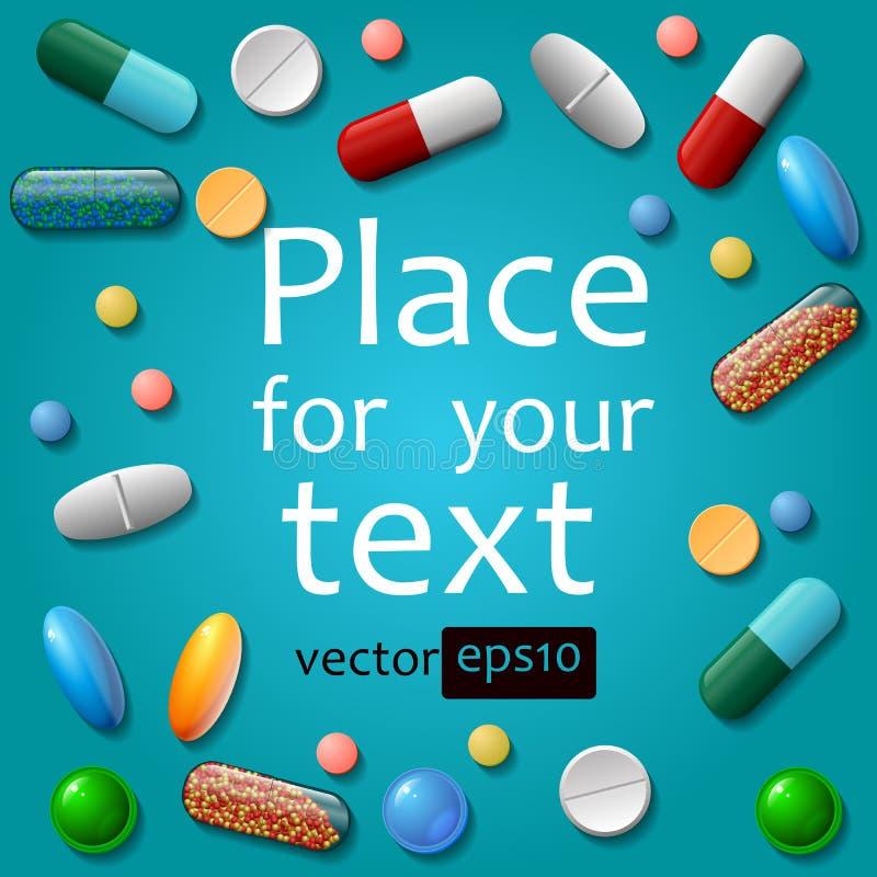 pillole mediche su fondo blu immagini stock