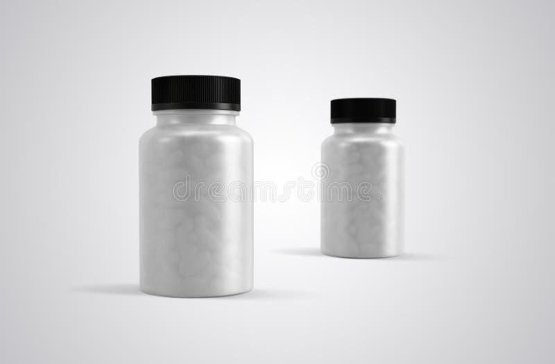Pillole o bottiglie delle capsule di supplemento chiare immagini stock