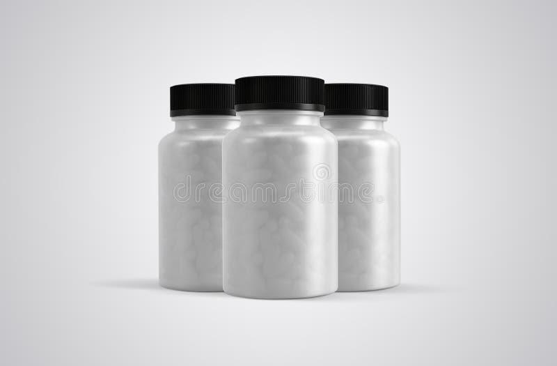 Pillole o vista frontale delle chiare bottiglie delle capsule di supplemento fotografia stock libera da diritti
