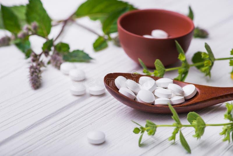 Pillole organiche naturali con la pianta di erbe fotografia stock