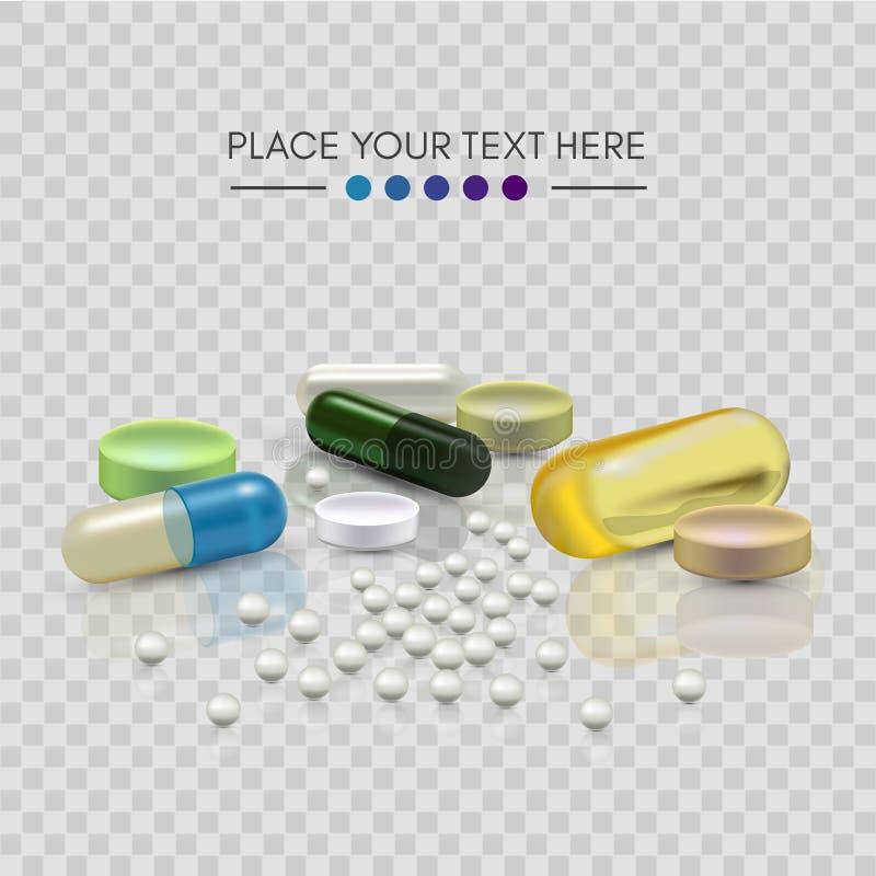 Pillole realistiche 3d Farmacia, antibiotico, vitamine, compressa, capsula medicina Illustrazione di vettore delle compresse e immagine stock