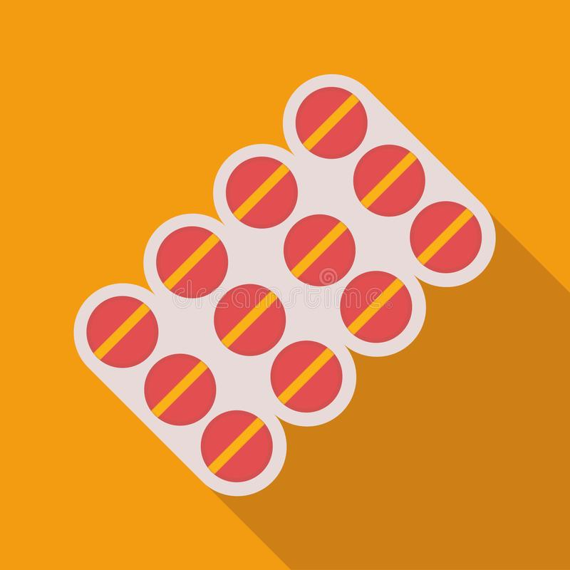 Pillole rosse su fondo arancio immagini stock