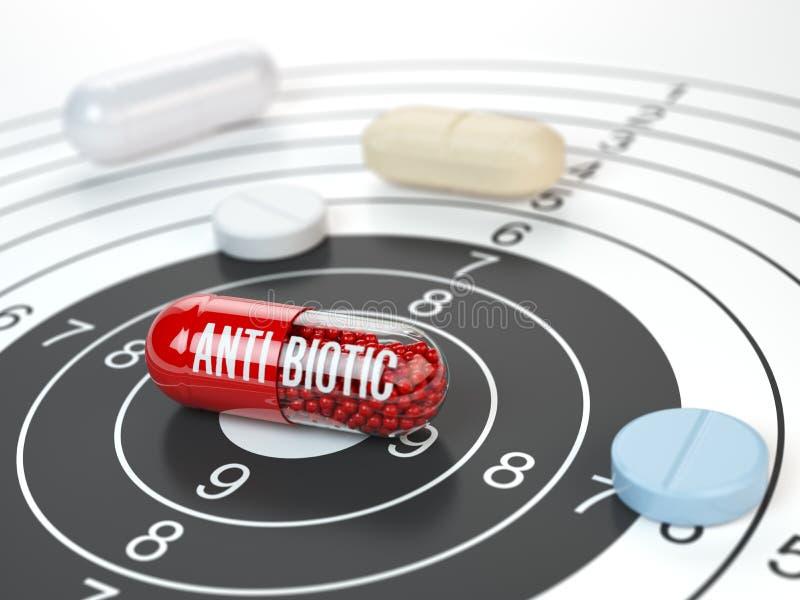 Pillole sull'obiettivo e sull'antibiotico nel centro Resear scientifico royalty illustrazione gratis