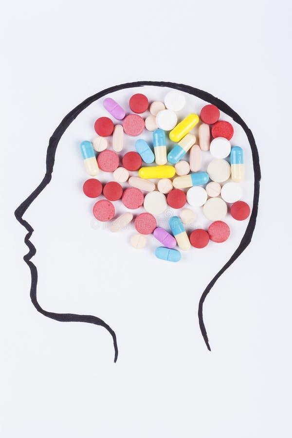 Pillole in testa immagine stock libera da diritti