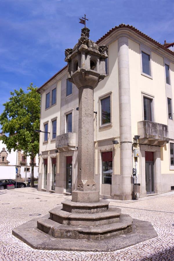 Pillory in Vila Real, Portugal stockbilder