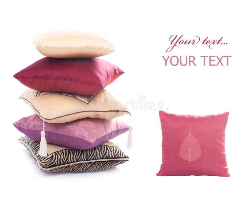 Pillow. Beautiful Design Pillows isolated on white stock photos