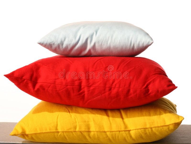 Pillow. White red yellow sleep