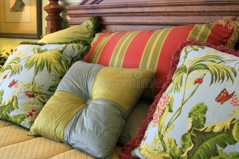 Download Pillow Assortment stock image. Image of headboard, tropical - 2193169