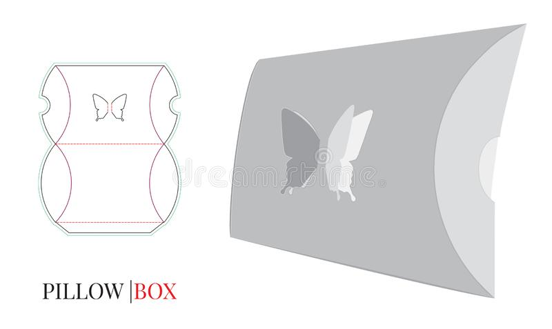 Pillow Box Template with die cut lines, Butterfly Pillow Box. Vector with die cut / laser cut layers vector illustration