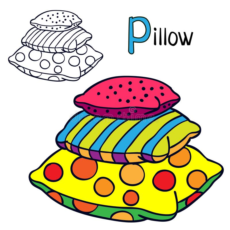 Pillow. Coloring book page for children. Cartoon vector illustration.  royalty free illustration