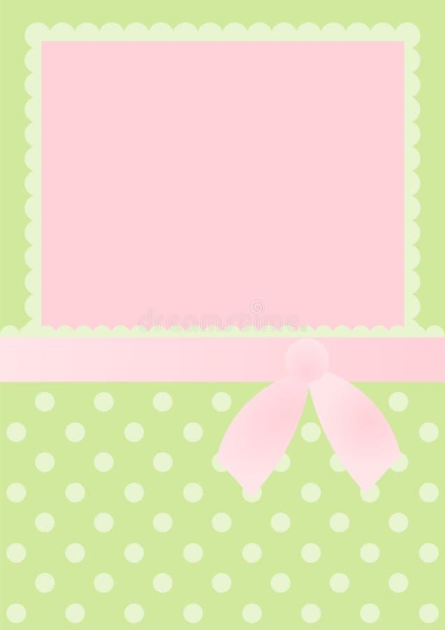 Pillow Einladungs-Karte mit rosafarbenem Bogen und Punkten stock abbildung