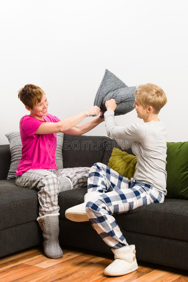 Download Pillow fight stock image. Image of relationship, happiness - 27978723