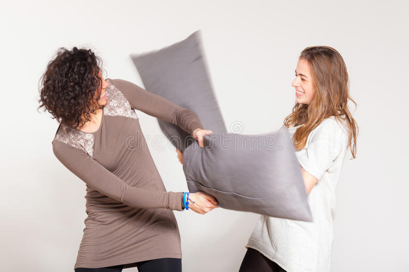 Download Pillow Fight stock image. Image of female, casual, party - 28175069
