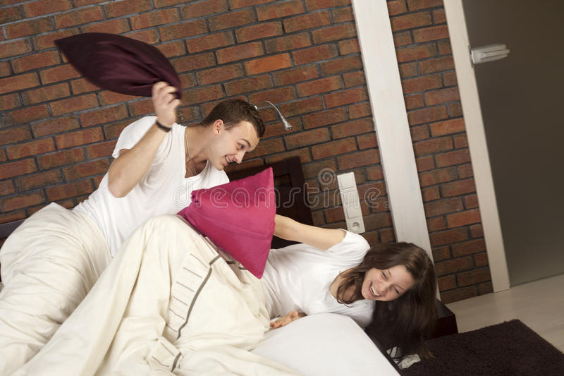Download Pillow fight stock image. Image of young, europe, smiling - 28549869