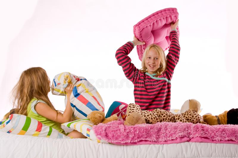 Pillow fight stock photography