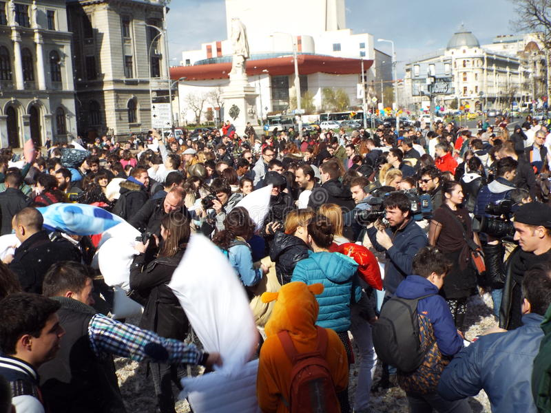 Pillow Fight Day, Bucharest stock images