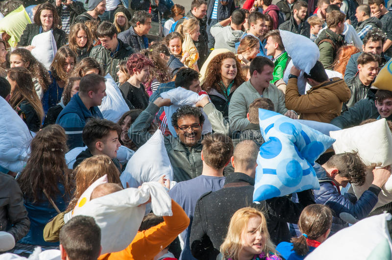 Pillow Fight Day 2015 royalty free stock photo