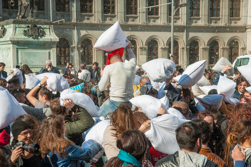Pillow Fight Day 2015 stock image