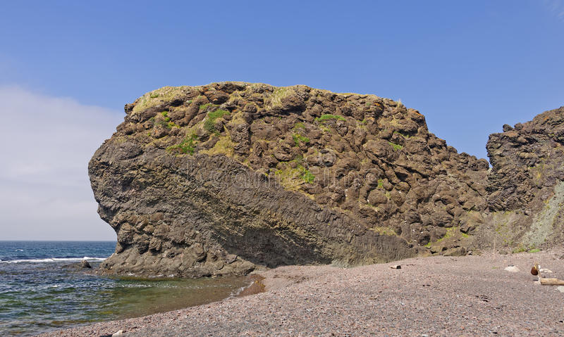 Pillow Lava Formation on a Remote Ocean Coast stock image