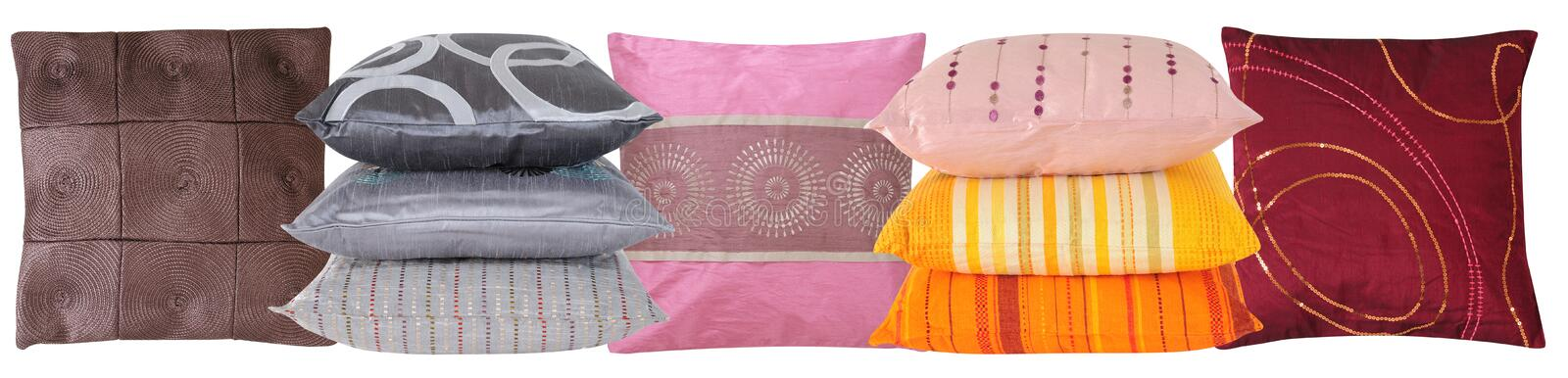 Pillow line. Set of colorful pillows, isolated over white royalty free stock image