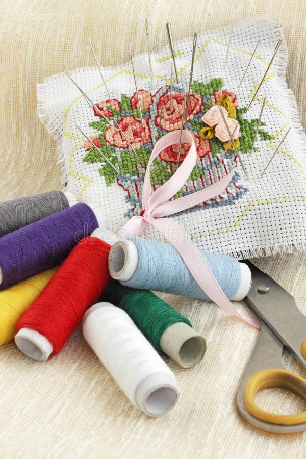 Download Pillow for the needles stock photo. Image of craft, hobby - 20535296
