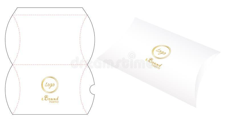 Pillow pack box die-cut template mockup 3d. A Pillow pack box die-cut template mockup 3d stock illustration