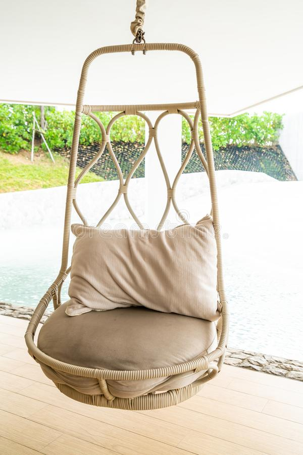 Pillow on patio chair in hotel resort. For relax royalty free stock photography