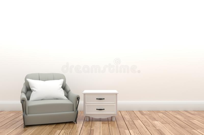 Pillow and sofa on the empty white wall with shelf,3D rendering vector illustration