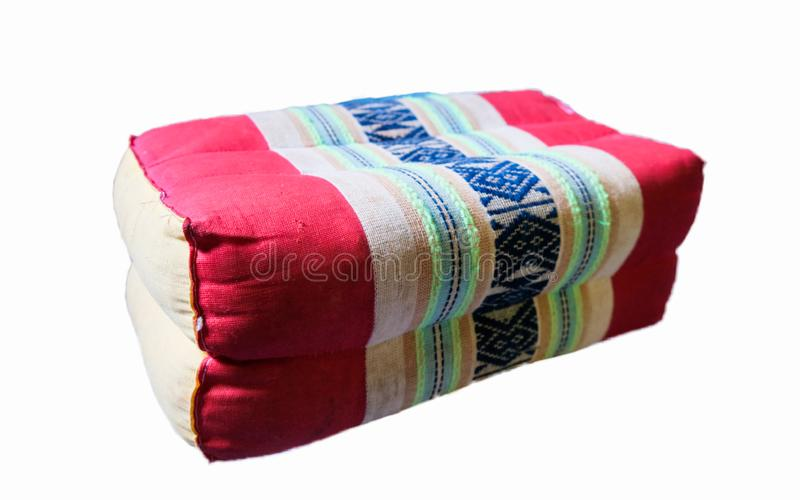 Pillows, arts and crafts, Handmade product from Thailand, ancient woven fabric on a white background royalty free stock photo