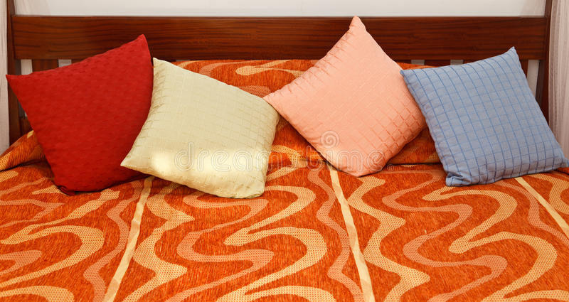 Pillows On Bed Stock Image
