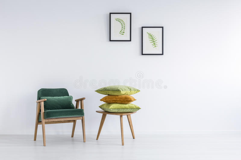 Pillows on coffee table royalty free stock photography