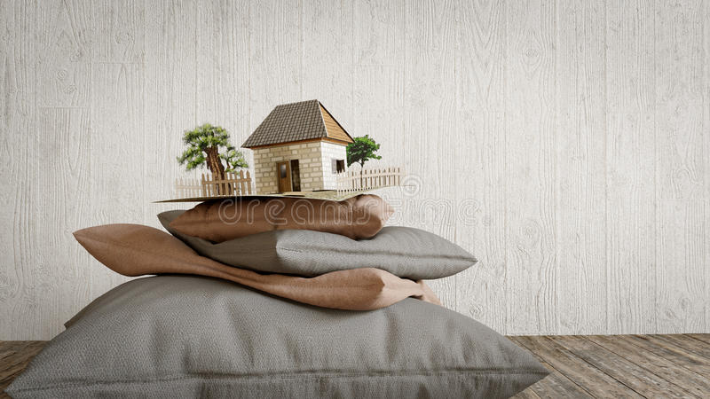 Pillows collection and toy house from paper concept composition stock illustration