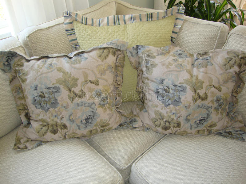 Pillows on a Couch/Sofa royalty free stock photography
