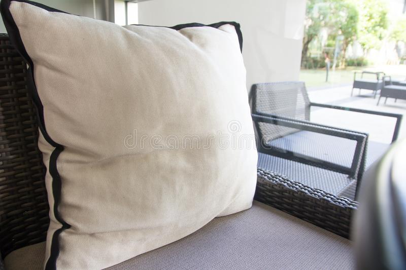 Pillows in living room stock photo