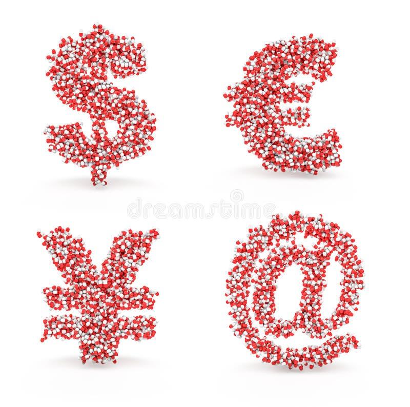 Download Pills Alphabet Dollar Euro Yen Email Stock Illustration - Image: 29697251