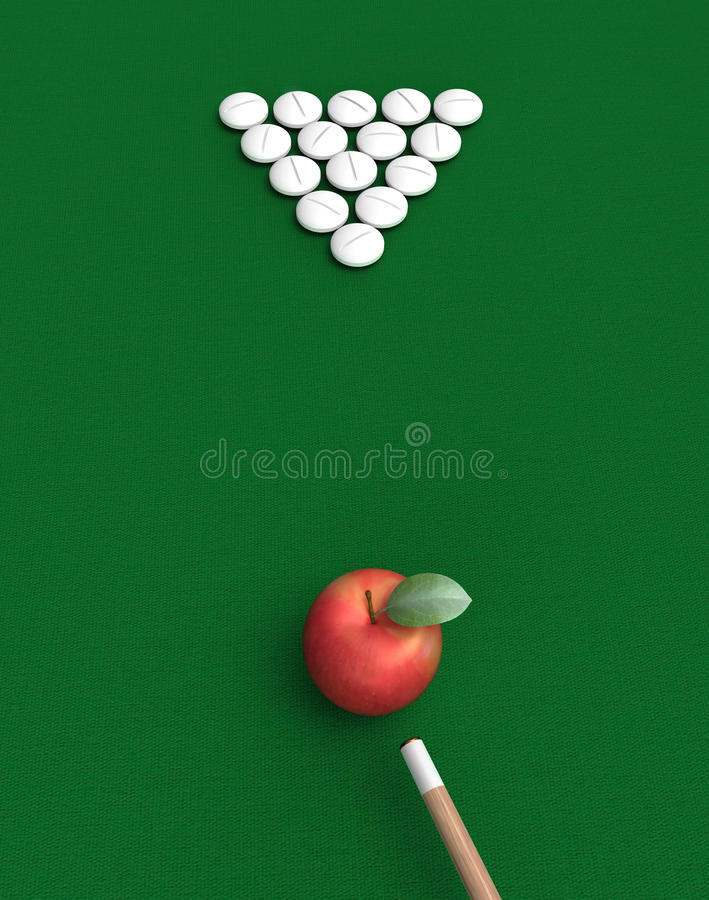 Pills and apple on billiard table royalty free stock photo