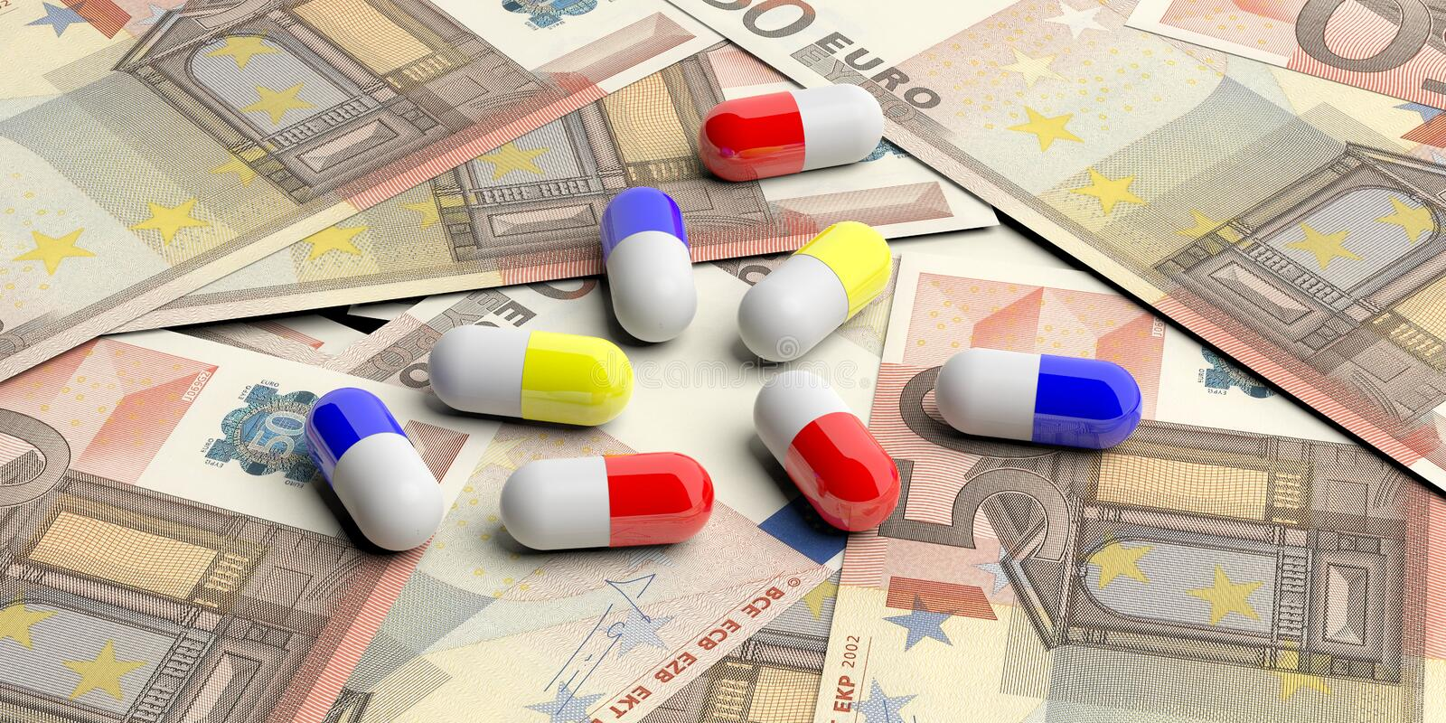 Pills capsules on Euro banknotes background. 3d illustration. Colorful pills capsules on on fifty Euro banknotes background. 3d illustration stock illustration