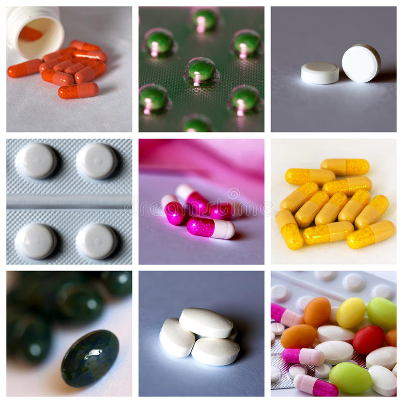 Pills collage. Medical / health-care concept: collage of medical pills royalty free stock photo