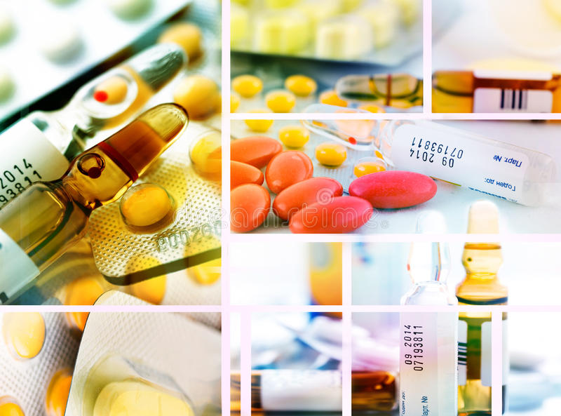 Pills collage stock image