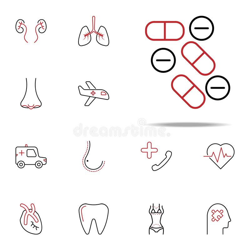 Pills colored line icon. Medical icons universal set for web and mobile vector illustration