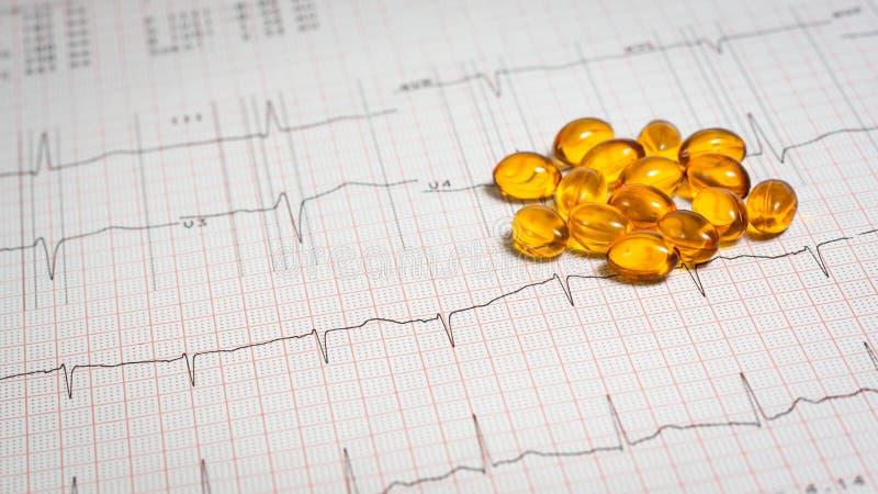 Pills on EKG stock photos