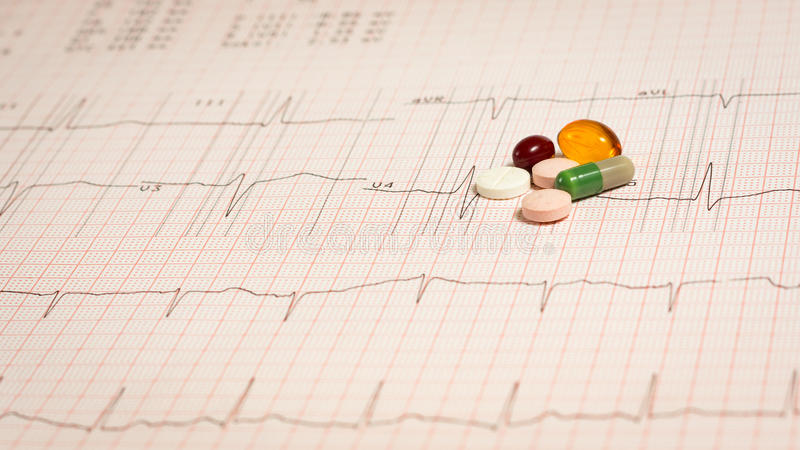 Pills on EKG royalty free stock image