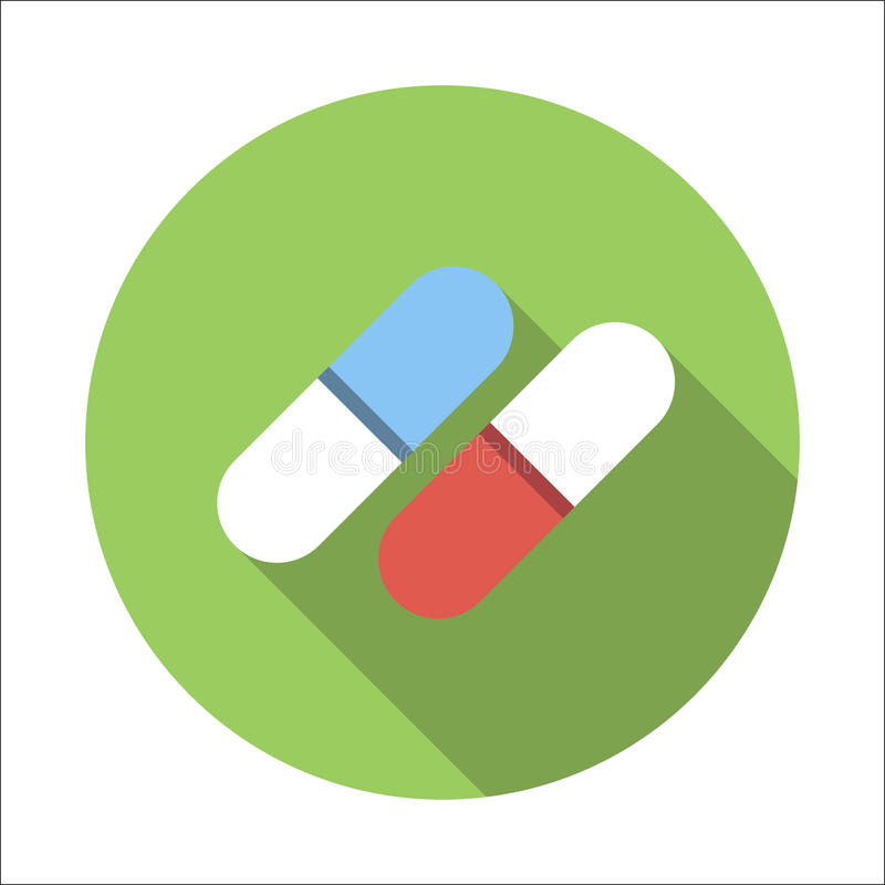 Pills flat icon royalty free illustration