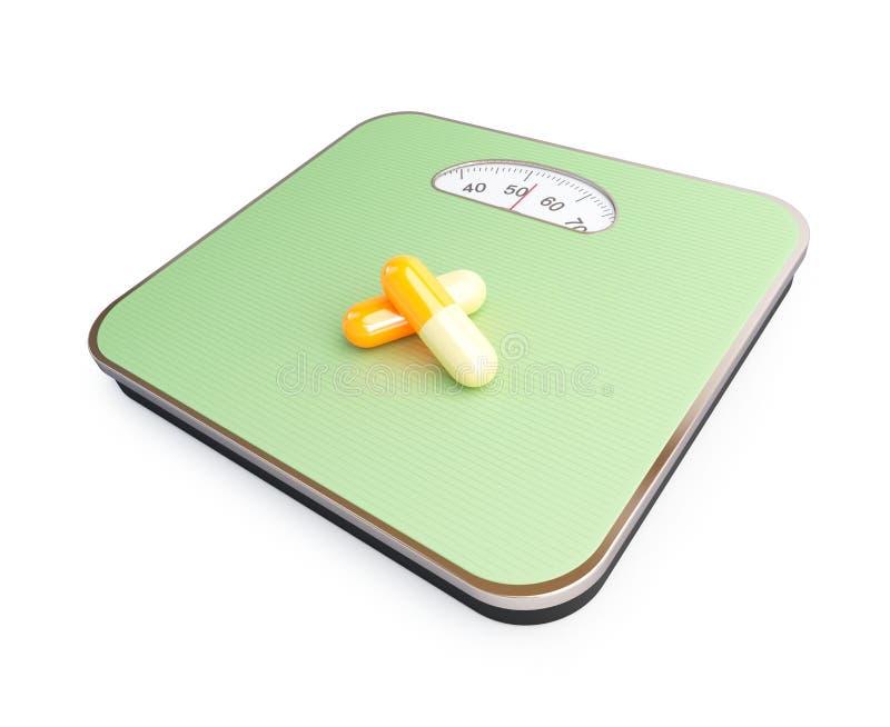 Download Pills on the floor scale stock illustration. Illustration of diet - 24723926